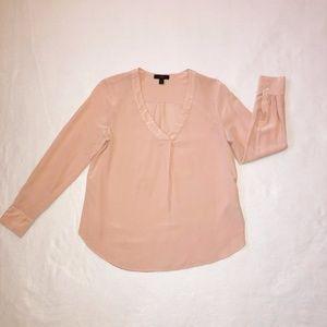 J Crew Silk Blouse 8P Pink V-Neck Long Sleeve
